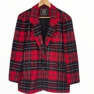 Express Buffalo Plaid Wool Blend Blazer Coat